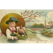 Embossed 1906 PFB Easter Postcard of Boy with Hen and Chicks