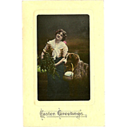 Tinted Easter Photo Postcard of Lady with her Dog