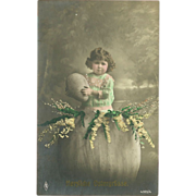 Tinted Real Photo 1919 Postcard of Young Girl with Egg