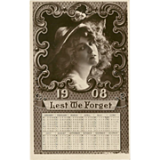 Rotograph Real Photo Postcard of Woman with 1908 Calendar