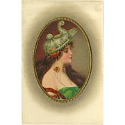 Vintage Postcard of Art Nouveau Style Woman with Jewelry - 2 of 2
