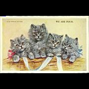 Artist Signed Mabel Gear Vintage Postcard of Four Blue Persian Kittens