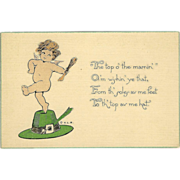 St. Patrick's Day Postcard of Cherub on Leprechaun Hat