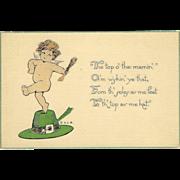 St. Patrick's Day Postcard of Cherub on Leprechaun Hat