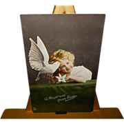 Raphael Tuck Tinted Easter Photo Postcard of Young Girl with Dove