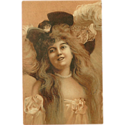Undivided Postcard with Beautiful Long Haired Lady in Large Hat