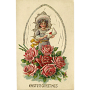 Embossed Easter Postcard of Young Girl with Roses