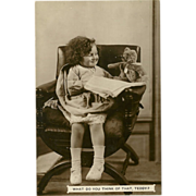 Real Photo Postcard of Young Girl with Teddy Bear