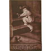 Sheahan 1907 Postcard of Child Running Away from Teddy Bear