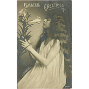Undivided 1906 Rotograph Easter Postcard with Beautiful Woman and Lilies
