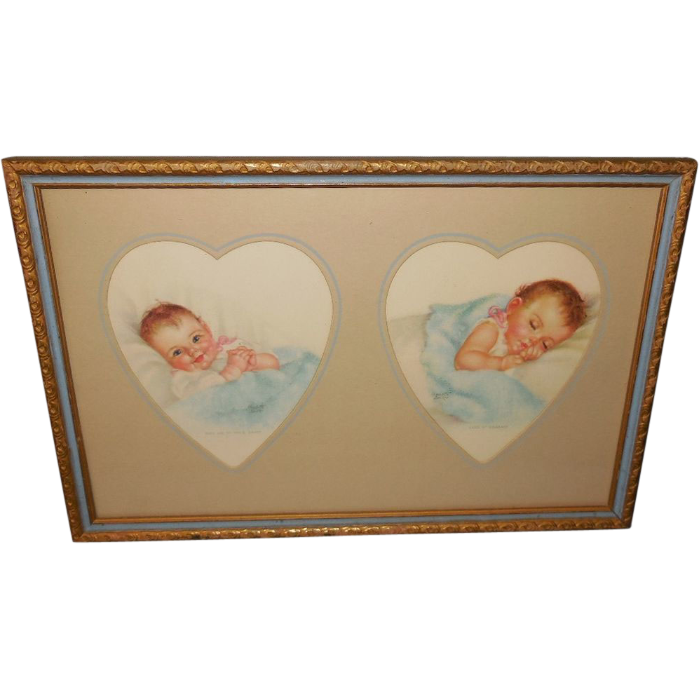 Charlotte Becker Heart Shaped Mat of Babies in Two Tone Wood Frame ...