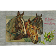 Embossed Winsch Christmas Postcard with Three Horses - Red Tag Sale Item