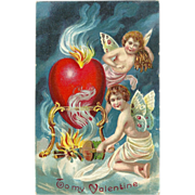 Embossed 1911 Valentine Postcard with Cherubs and Burning Heart