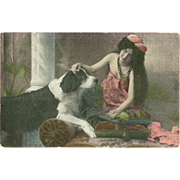Vintage Photo Postcard of Beautiful Lady with Cigarette and Newfoundland Dog