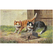 Artist Signed Undivided Postcard of Two Cats with Caged Mouse