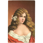 Vintage Postcard of Long Haired Lady - Art Treasures Heads by Prati