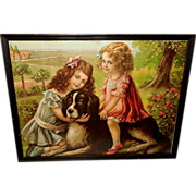 Vintage Print of Rover and His Friends - Two Girls with Newfoundland - Red Tag Sale Item