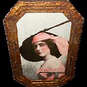 Vintage Print of Lovely Mademoiselle Dazie Vaudeville Actress in Octagonal Frame