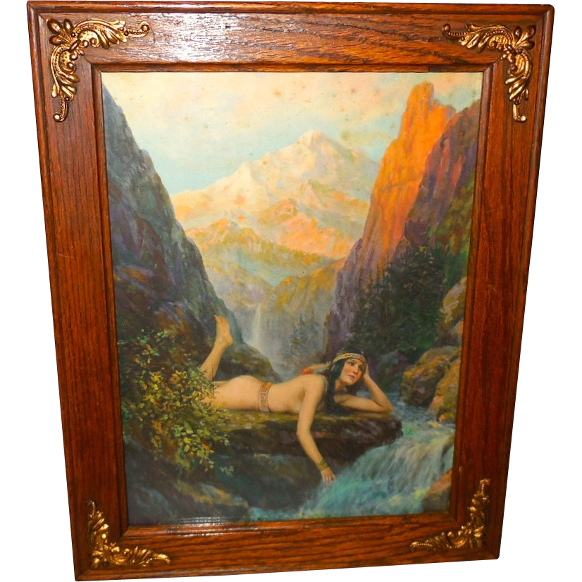 Native American Indian Maiden By F R Harper Wood Frame