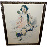 John E. Sutcliffe Vintage Print of Lady Admiring Necklace Gift - Good Will Toward Men - Red Tag Sale Item