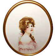 Lovely Dark Haired Woman in Oval Frame - Red Tag Sale Item