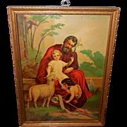 Religious Print of St. Joseph, St. John the Baptist, and Baby Jesus