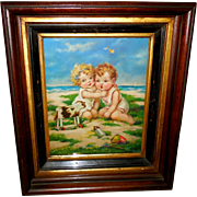 Vintage 1936 Print of Two Children with Toy Cow - Deep Layered Frame