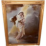 Ullman 1899 Print on Glass of Madonna and Child
