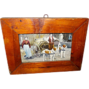 Primitive Small Wood Frame with Tinted Photo Image of Dog Driven Cart - Red Tag Sale Item