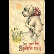 Samson Brothers 1914 Postcard of September Morn with Dog