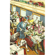 Alfred Mainzer Dressed Cats Postcard - Bedlam on the Train