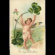 Embossed PFB Valentine Postcard of Cherub with Shamrock