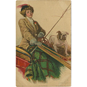 Lady in Carriage with Bulldog 1914 - Artist Signed Lester Ralph