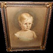 Artist Signed Vintage Portrait Print of Young Child - Ornate Frame - Red Tag Sale Item