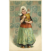 PFB Embossed Postcard of Young Dutch Girl Holding a Toy Boat