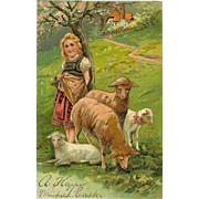 Embossed PFB 1907 Easter Postcard of Girl with Four Sheep