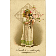 Vintage Embossed Easter Postcard of Girl Holding Puppy