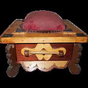 Folk Art Three Tone Wood Sewing Box with Drawer and Pin Cushion
