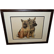 Two German Shepherd Puppies by Grace Lopez - Wood Frame - Red Tag Sale Item