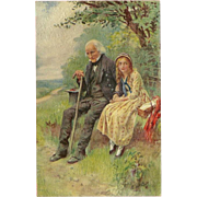 Raphael Tuck Oilette Postcard of Dickens Characters - Little Nell and her Grandfather