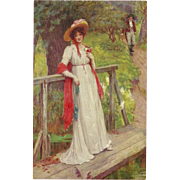 Vintage Postcard of Lady on a Foot Bridge