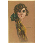 Vintage Postcard of Beautiful Long Haired Lady by Corbella - 2 of 2