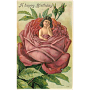 Embossed Vintage Happy Birthday Postcard of Girl Inside Red Rose