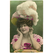 Glossy French Tinted Photo Postcard of Beautiful Lady in Feather Hat