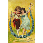 Embossed Chromolithograph 1910 Postcard of Boy and Girl - Best Wishes