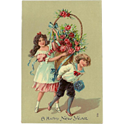 Embossed Chromolithograph New Year's Postcard with Boy and Girl with Roses