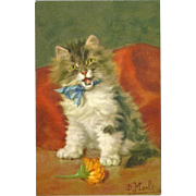 Vintage Postcard of Cat or Kitten with Blue Bow by D. Merlin