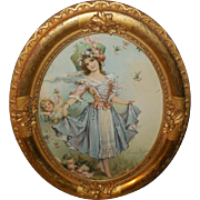 Frances Brundage Lady with Cherub in Oval Gold Frame