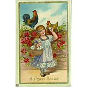 Easter Gel Postcard of Young Girl with Chickens