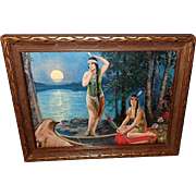 Vintage Print of Two Native American Indian Maidens by Relyea